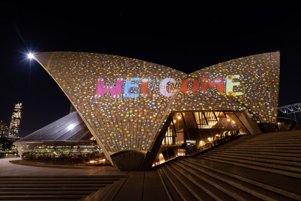 Badu Gili_ Wonder Women, featuring Kaylene Whiskey, projected onto the Sydney Opera House's eastern Bennelong sails. © the artist, photo by Daniel Boud, courtesy Art Gallery of New South Wales and Sydney Op
