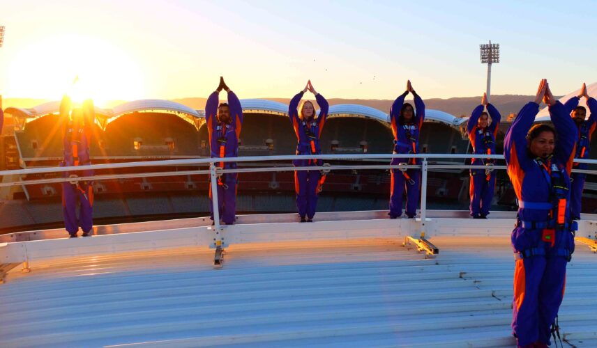 RoofClimb Yoga. Adelaide Oval. Cultural Attractions of Australia.