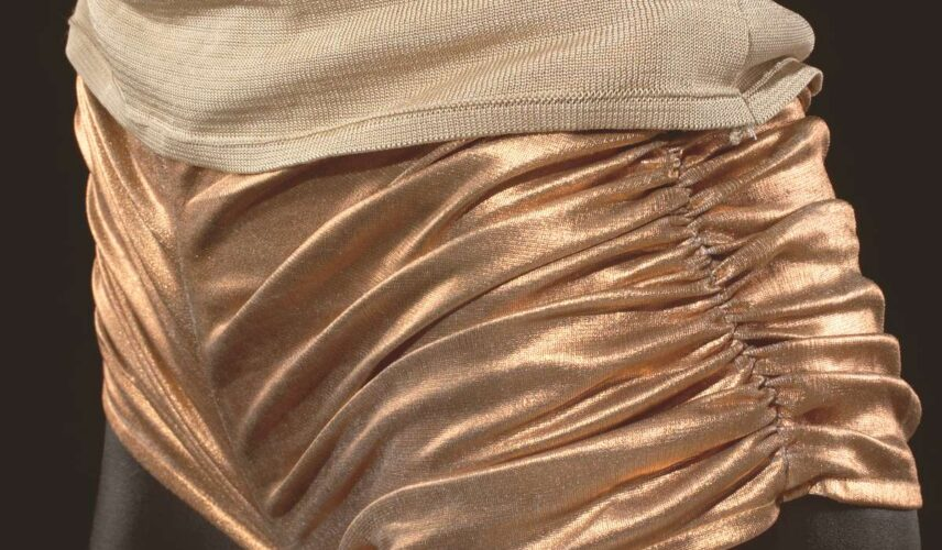 Hot pants worn by Kylie Minogue in video clip for 'Spinning Around'. Gift of Kylie Minogue, Cultural Gifts Program, 2004. Australian Performing Arts Collection, Arts Centre Melbourne.