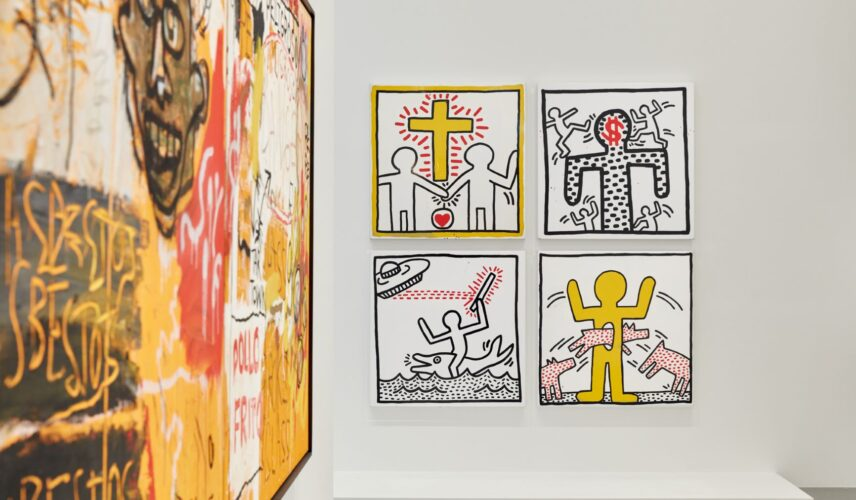 Installation view of Keith Haring | Jean-Michel Basquiat: Crossing Lines at NGV International. © Estate of Jean-Michel Basquiat. Licensed by Artestar, New York © Keith Haring Foundation. Photo: Tom Ross