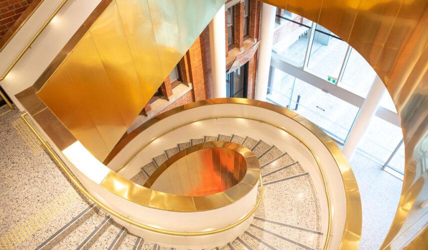 Spiral staircase gold WA Museum (C) Michael Haluwana, Aeroture